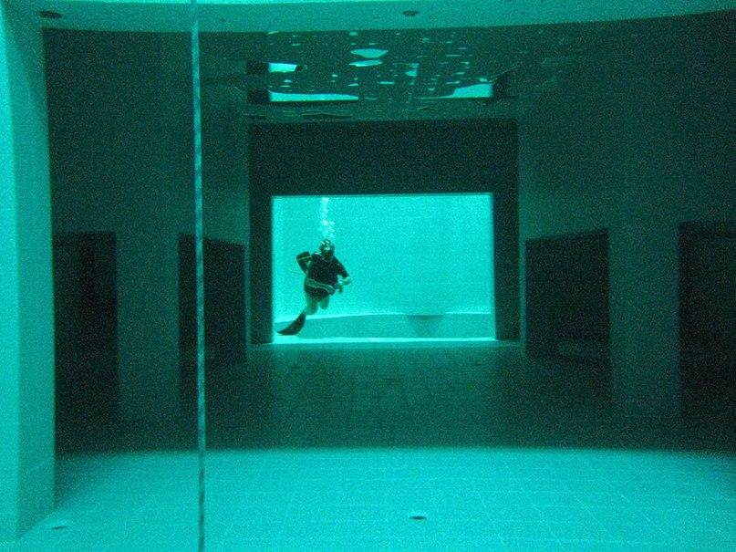 В бассейне есть подводные «пещеры» которые используются для исследования, три «ямы» и два «водоема»