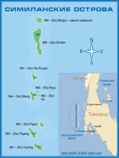 Кроме этих девяти островов, к Национальному Парку относятся острова Тачай и Бон, располагающиеся немного в тороне от основного ряда островов.