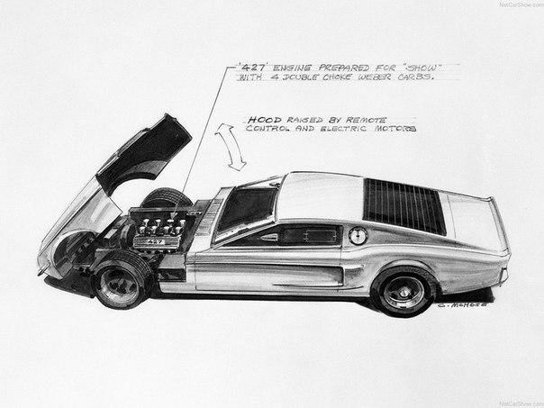 Стоит обратить внимание на большой наклон задних стоек. На последующих моделяхMustang II этот уклон сохранялся до 1974 года.
