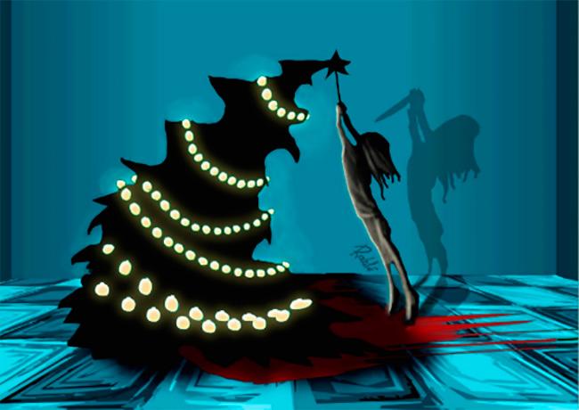 Всё как положено — черно-красные, совсем черные, с черепами, костями, елками и снеговиками.