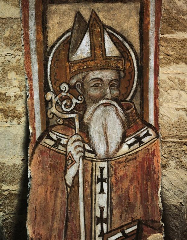 Фреска 12-го века Святого Николая в Бари, в Кафедральном Соборе Таранто Италия).