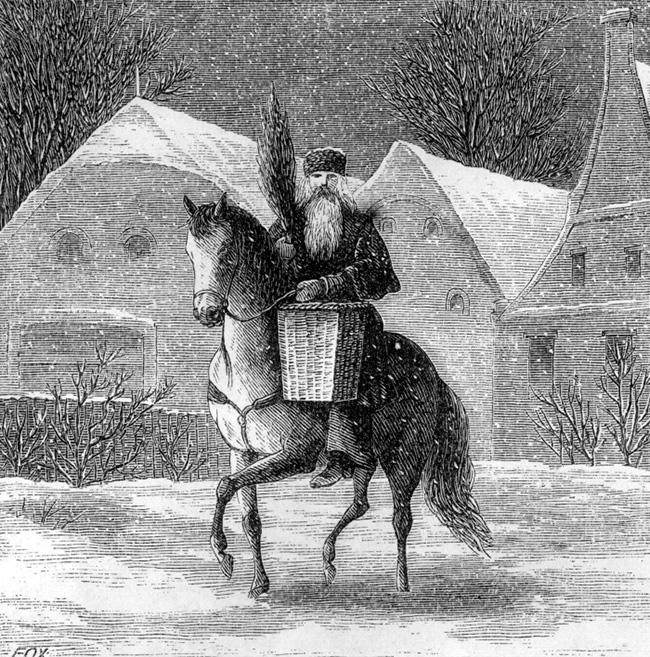 Гравюра Святой Николай с рождественской елью в корзине