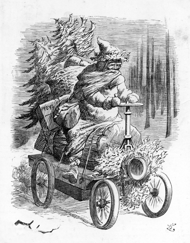Санта не отстает от технического прогресса и пересаживается на автомобиль 1896