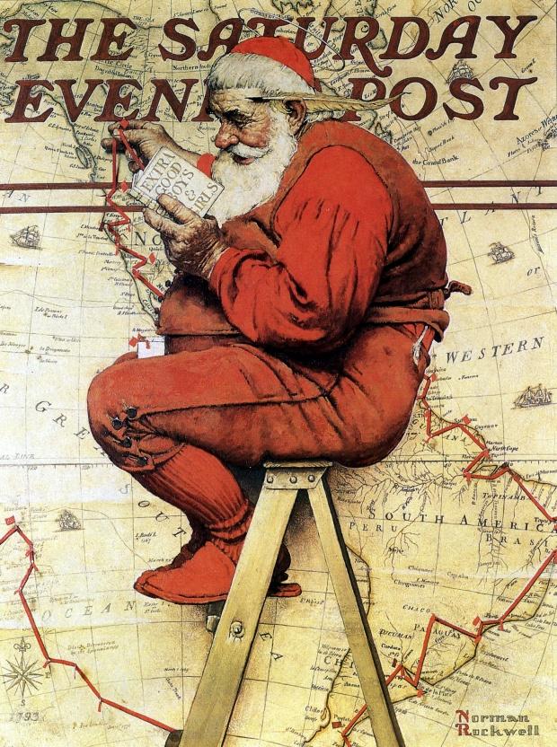 Санта прокладывает свой маршрут на карте, делая выбор между хорошими и очень хорошими ребятами 1939