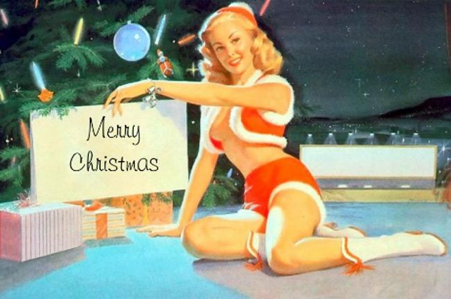 Девушки в стиле пин ап на рождественских открытках