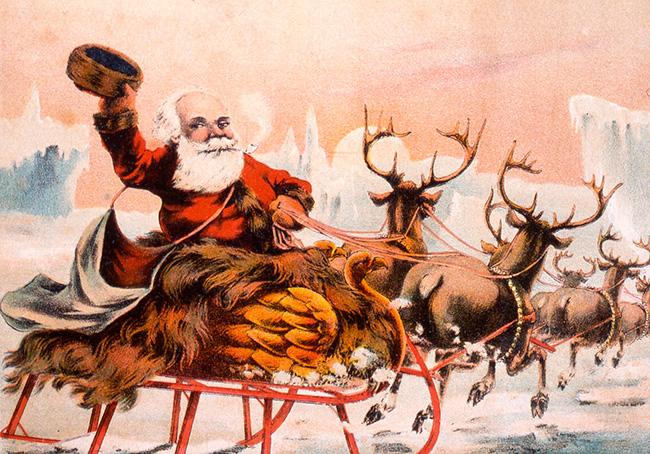 Санта возвращается на Северный Полюс после раздачи подарков конец 19 века