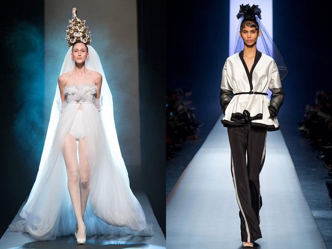 Брючные костюмы и асимметричные вечерние платья существуют в этой коллекции как отдельно друг от друга, так и соединенные в одном наряде с помощью очень сложного кроя.