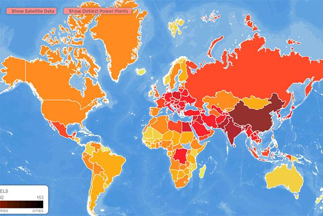 Если на основании данных этой карты составить рейтинг самых загрязненных стран мира, то первое место достается Китаю, второе – Индии, третье – Пакистану.