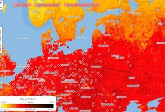 Создана интерактивная карта загрязнения воздуха в мире