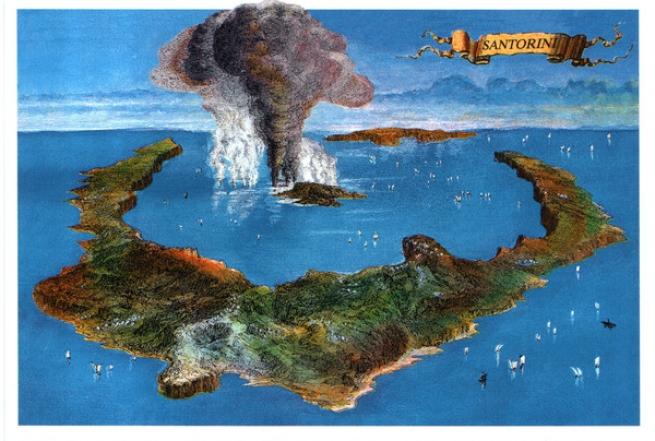 Цунами вследствии извержения вулкана Санторин